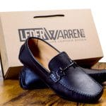 Genuine leather buckle black loafers by lederwarren