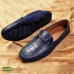 Loafer shoes Croco pattern buckle Navy blue by lederwarren