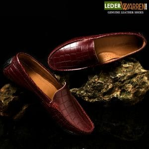 Crocodile Pattern Burgundy Loafers Shoes
