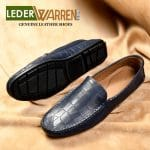 Croco pattern blue mens loafers driving shoes genuine leather by lederwarren