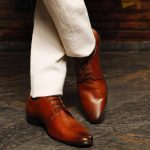 Leather formal shoes pointed tan by lederwarren