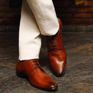 Tan Pointed Leather Formal Shoes