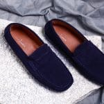 Genuine Suede Leather Navy Blue Penny Loafers Shoes By Lederwarren