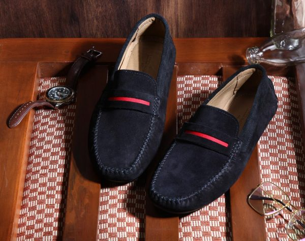 Genuine Suede Leather Red Penny Black Loafers Shoes By Lederwarren