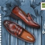 Genuine Leather Figo Brown Penny Loafers Shoes By Lederwarren