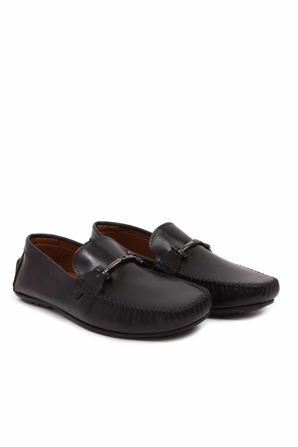 Buckle Black Loafers Shoes